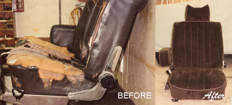 photo of car seats before and after
